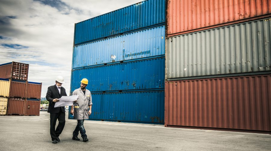 Maritime shipping manager and port worker at a commercial dock assessing freight logistics